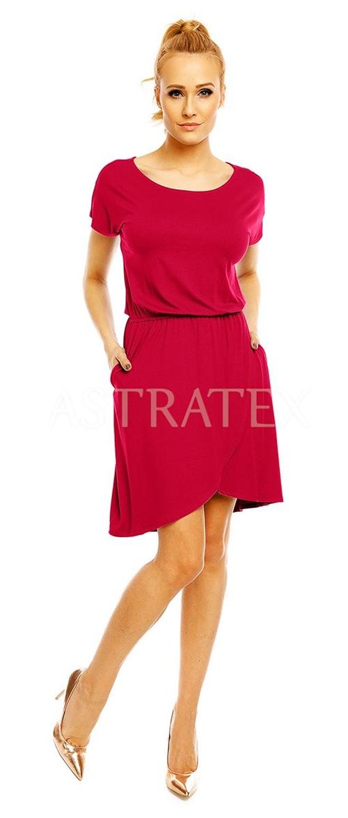 Červené šaty kryjící větší bříško