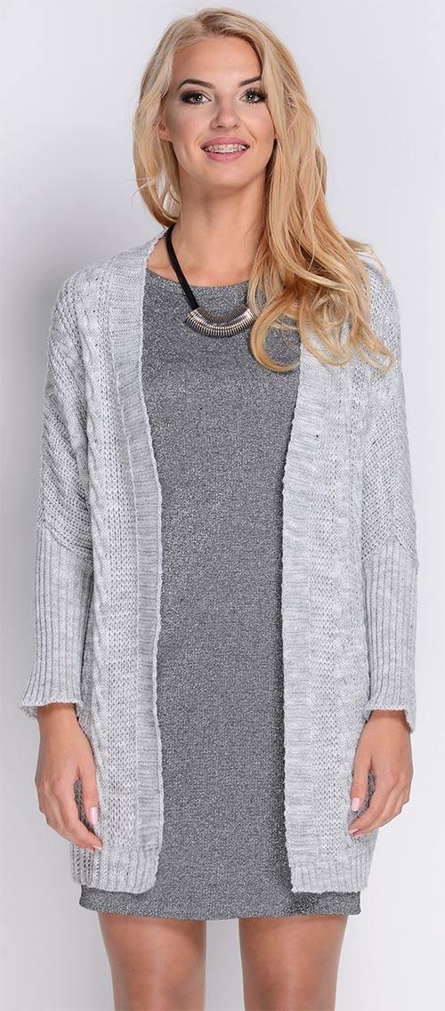Dlouhý dámský svetr bez zapínání