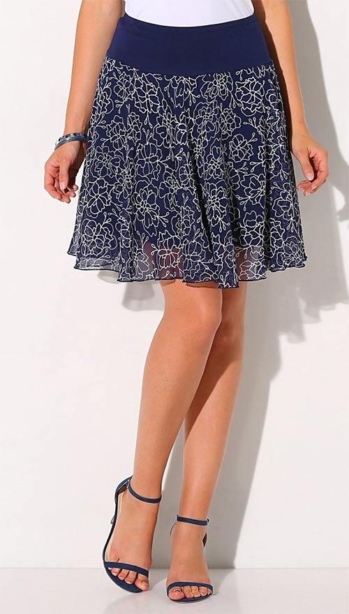 Rozšířená letní sukně s potiskem květin
