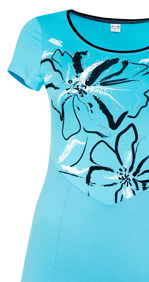 Tyrkysové letní šaty s potiskem