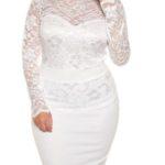 Zeštíhlující bílé dámské šaty s dlouhými rukávy