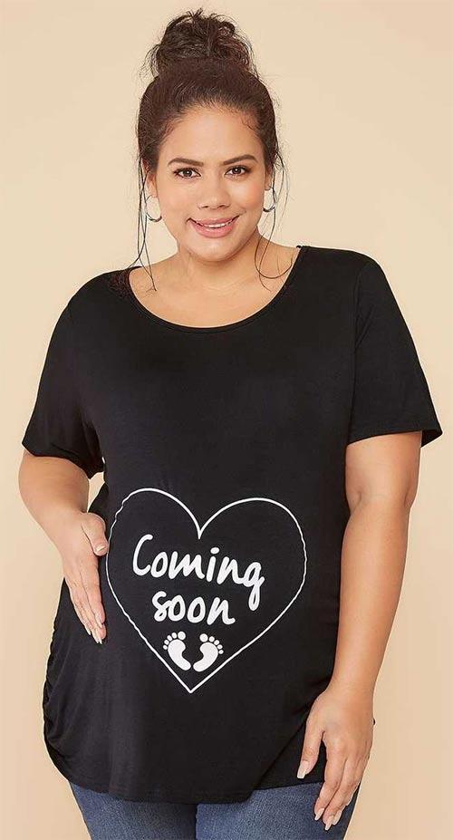 Černé těhotenské tričko Comming soon