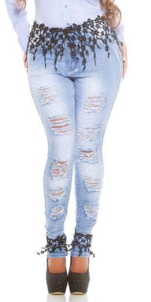 Dámské džíny s děrováním pro plnoštíhlé