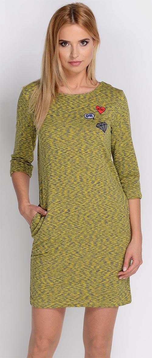 Moderní khaki šaty