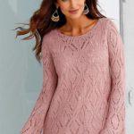 Moderní svetr s něžným ažurovým vzorem