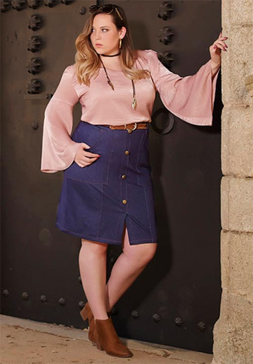76aa0eaaa20e Riflová sukně pro plnoštíhlé. Modrá sukně pro baculky ...