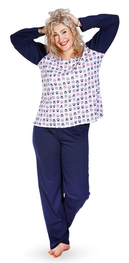 Pohodlné dámské pyžamo z bavlněného úpletu