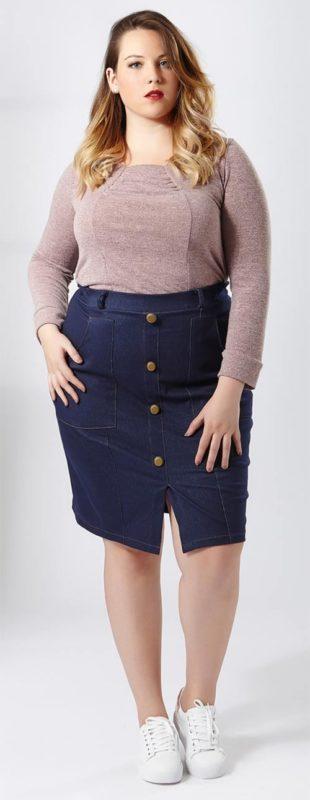 Riflová sukně pro plnoštíhlé