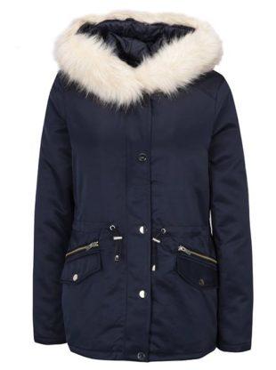Tmavě modrá zimní bunda s kapucí Dorothy Perkins