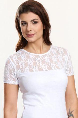 Bílá halenka s vzorovanou krajkou