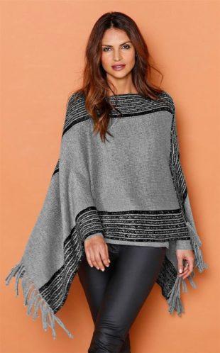 Dvoubarevný pončo pulovr