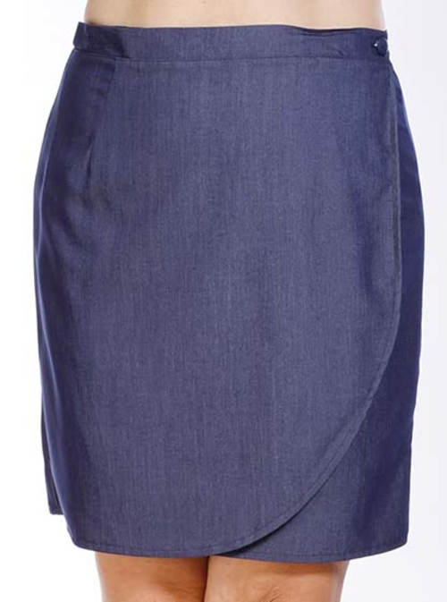 Modrá zavinovací sukně pro plnoštíhlé