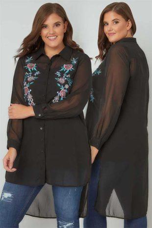 Šifónová dámská košile s výšivkou