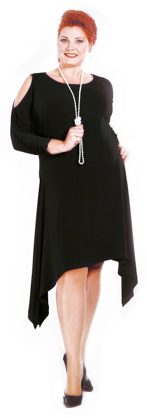 Módní šaty pro plnoštíhlé s prodlouženými cípy