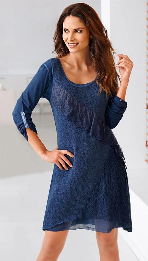 Podzimní dámské šaty v rozšířeném střihu