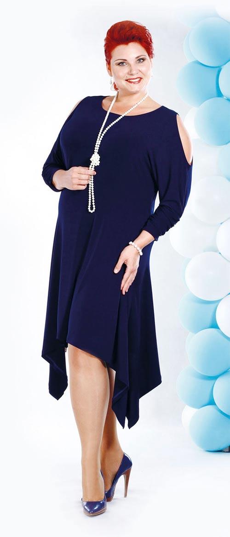 Volné modré plesové šaty