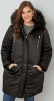 Černá prošívaná zimní bunda s kožíškem