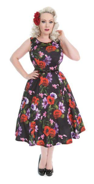 Květinové retro šaty Hepburn - Poppy Perfection