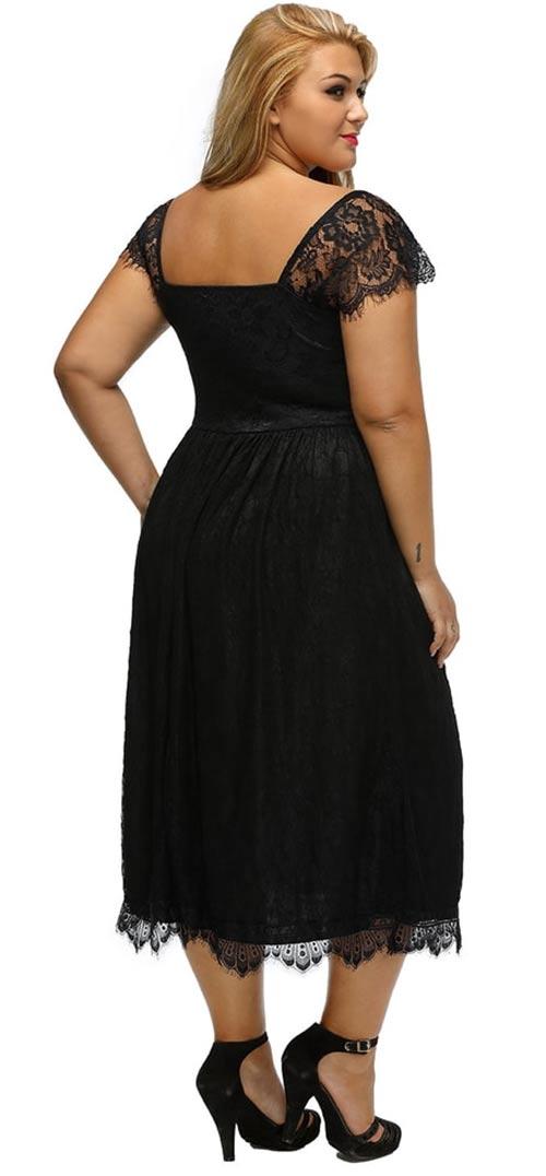 Plesové krajkové šaty pro boubelky