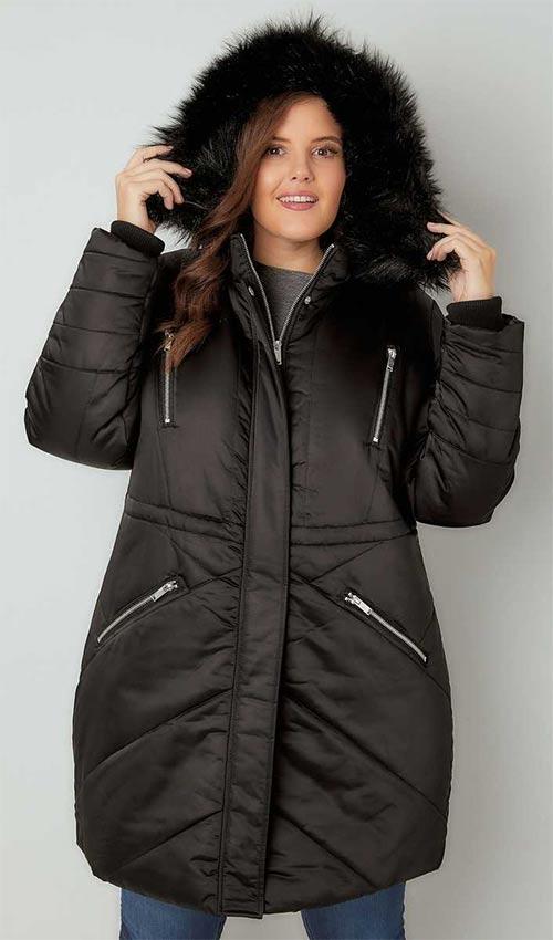 Prošívaná bunda s chlupatou kapucí