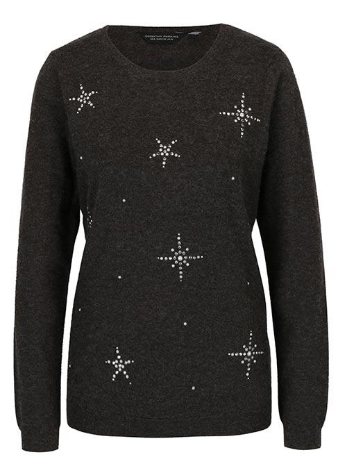 Šedý žíhaný svetr pro plnoštíhlé
