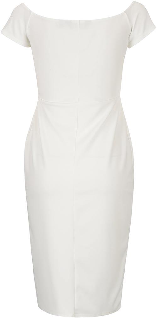 Bílé pouzdrové šaty s krátkým rukávem