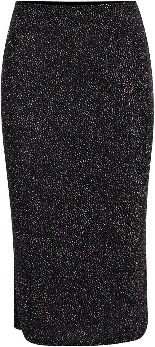Černá dlouhá metalická sukně