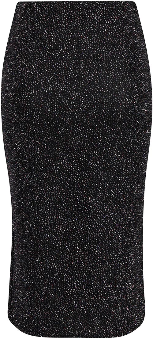Černo-stříbrná dámská sukně