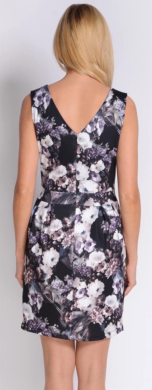 Černobílé šaty s potiskem květin