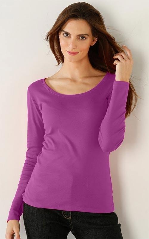 Fialové dámské tričko s dlouhým rukávem