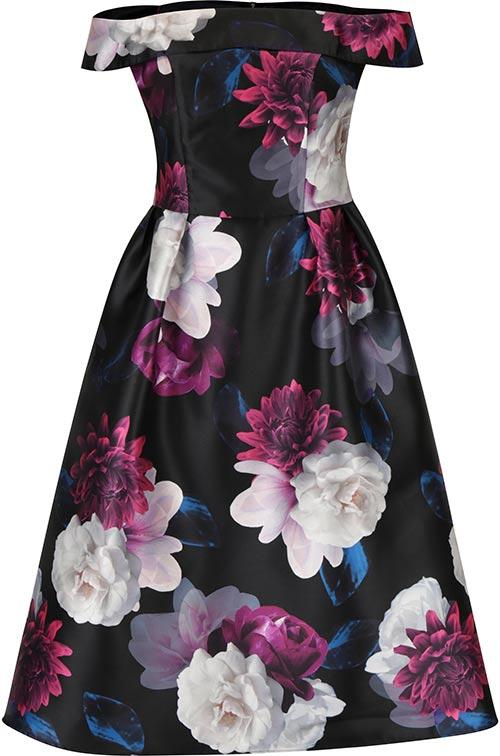 Květováné šaty bez ramínek pro plnoštíhlé