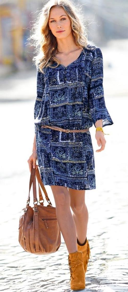 Šaty s potiskem a pagodovými rukávy