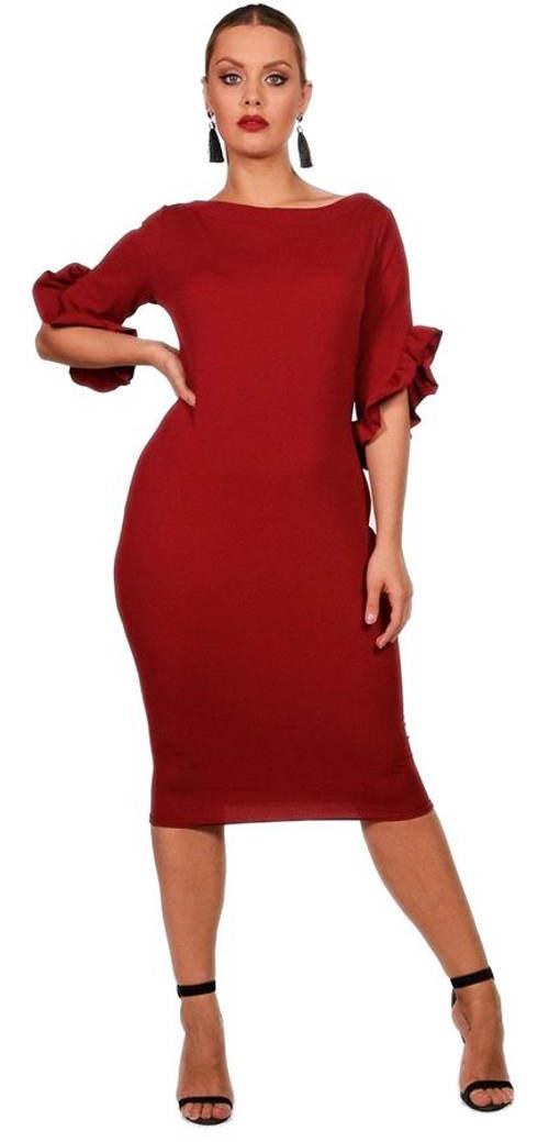 Červené společenské šaty s volánkovými rukávy