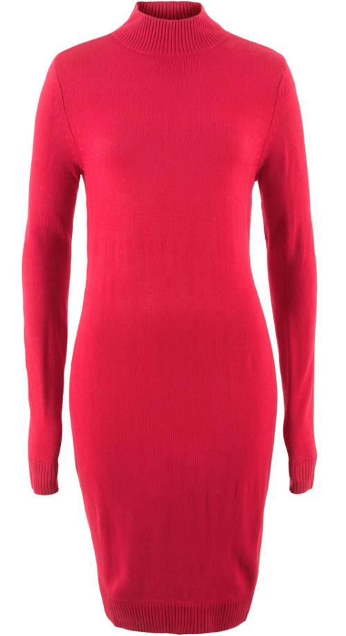 Červené úpletové šaty s dlouhým rukávem