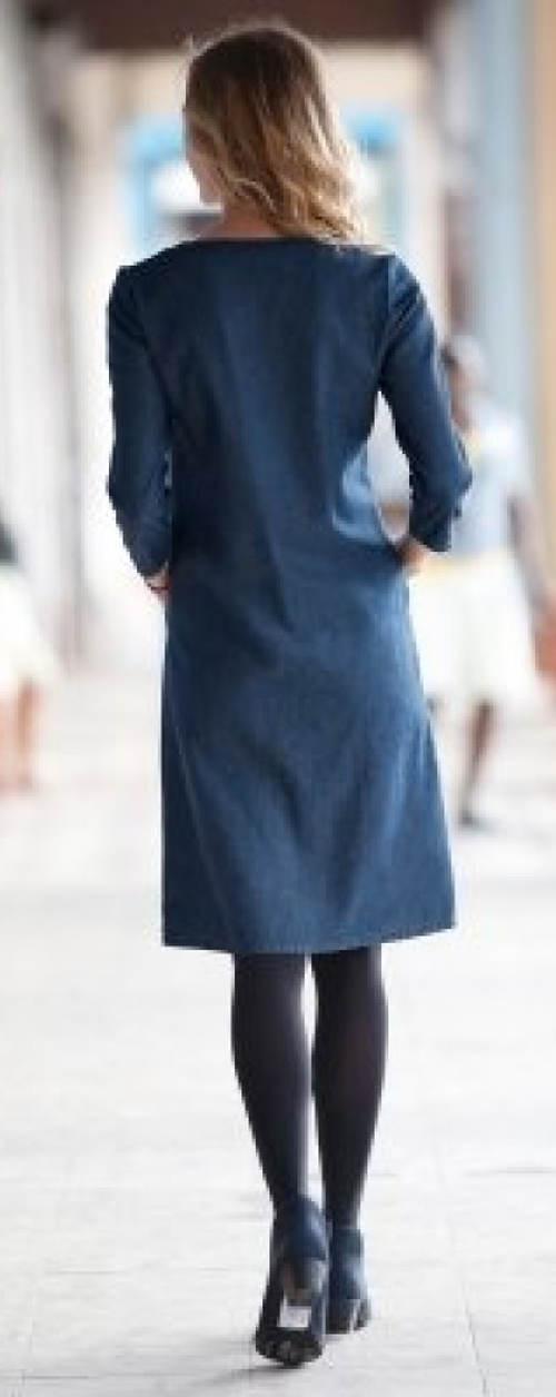 Džínové šaty s dlouhými rukávy