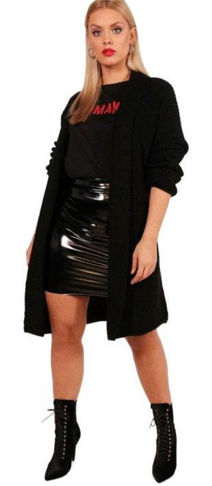 Pletený černý oversized svetr