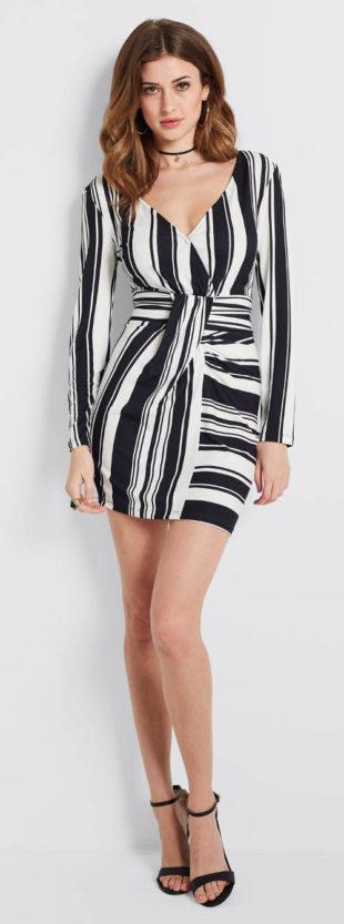 Zavinovací černobílé pruhované šaty
