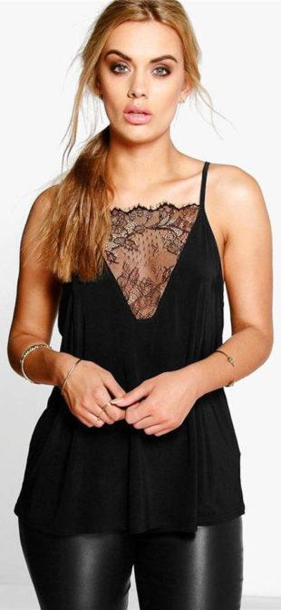 cc275c68ea8 Letní oblečení pro plnoštíhlé. Černý krajkový top na tenká ramínka