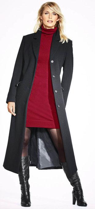 Dlouhý dámský zimní kabát