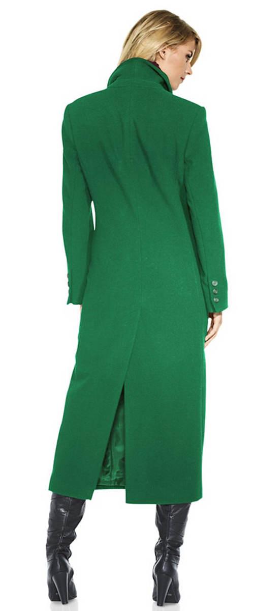 Dlouhý kabát v zelené barvě