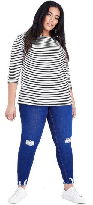 Jasně modré džíny pro baculky