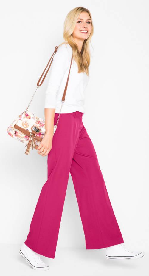 Růžové kalhoty široké nohavice