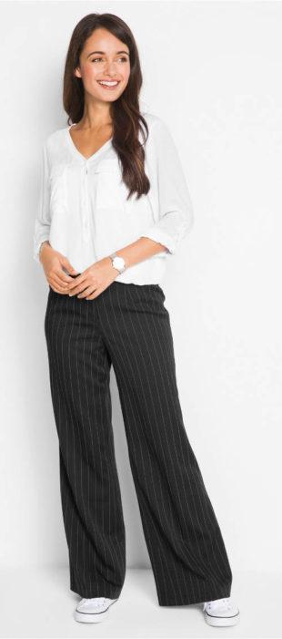 Široké strečové společenské kalhoty