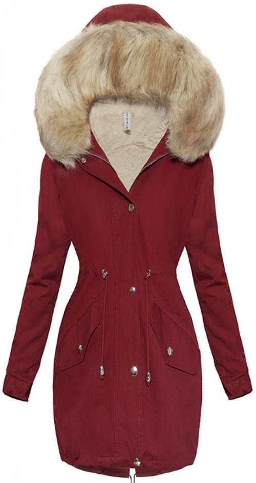 Vínový zimní kabát s kožíškem
