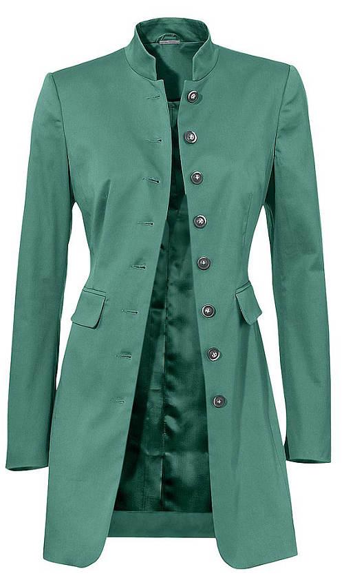 Zelený kabátek se stojáčkem