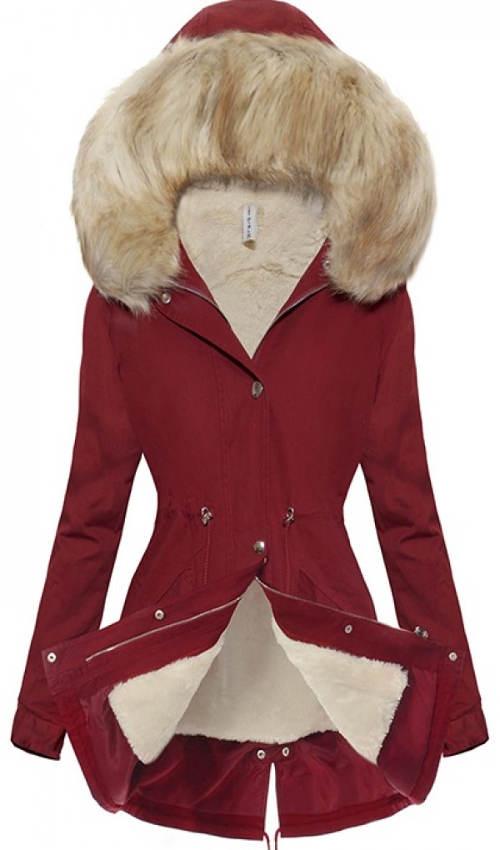 Zimní dámský kabát s hřejivou kožešinou