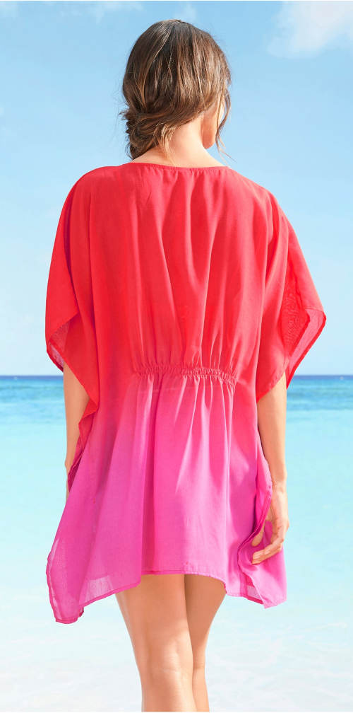 Červeno-růžové plážové šaty