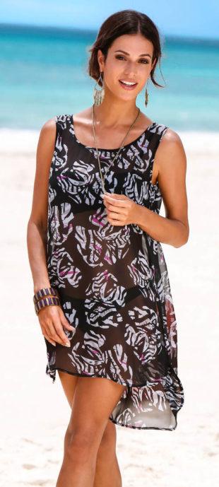 Průsvitné černobílé plážové šaty
