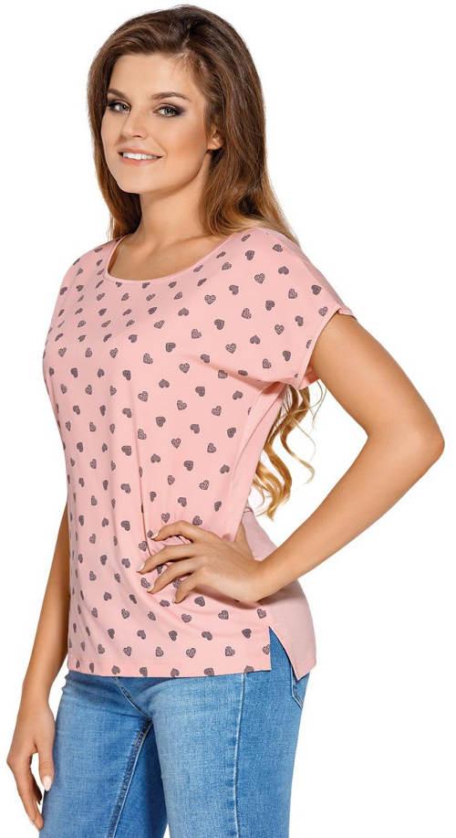 Růžové dámské tričko s drobnými srdíčky