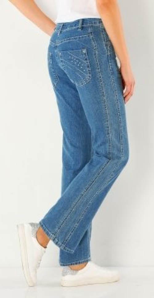 Světle modré džíny pro podsadité postavy
